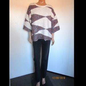 Anthropologie MOTH Metallic Detail Sweater Sz. L